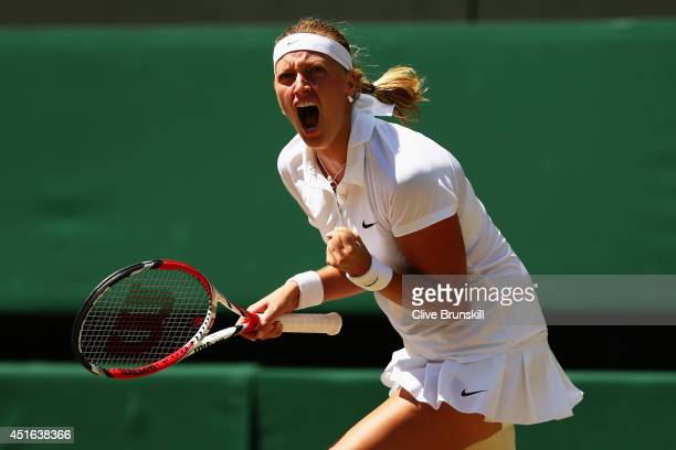 Petra Kvitova of Czech Republic celebrates winning the opening set during her Ladies' Singles semifinal match against Lucie Safarova of Czech...