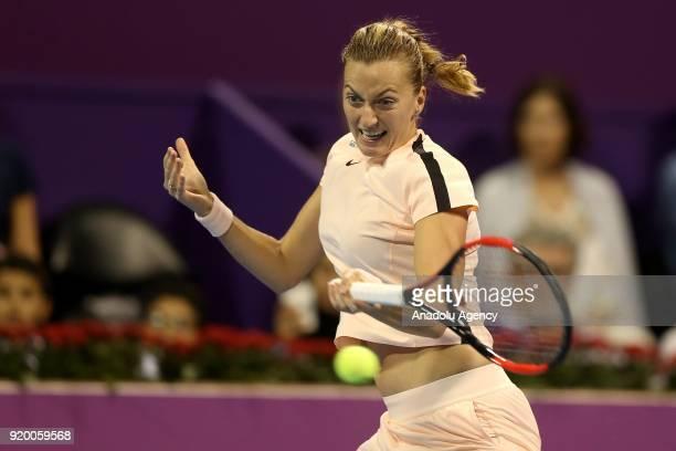 Petra Kvitova of Czech Republic competes against Garbine Muguruza of Spain during 2018 WTA Qatar Total Open final of the women's singles match at...