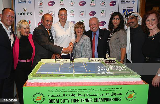 Petra Kvitova of Czech Republic cuts a cake after defeating Sara Errani of Italy in the final during day six of the WTA Dubai Duty Free Tennis...