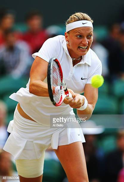 Petra Kvitova of Czech Republic during her Ladies' Singles quarterfinal match against Barbora Zahlavova Strycova of Czech Republic on day eight of...