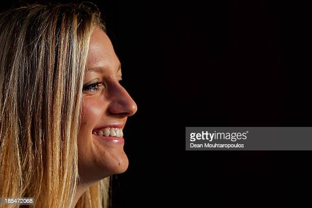 Petra Kvitova of Czech Republic fields questions from the media at the WTA All Access Hour during the previews of the TEB BNP Paribas WTA...
