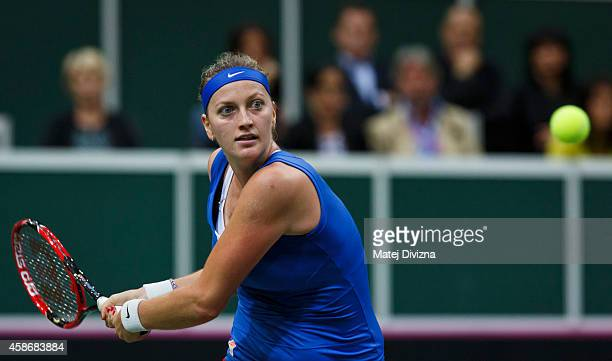 Petra Kvitova of Czech Republic in action against Angelique Kerber of Germany during day two of the Fed Cup final match between Czech Republic and...