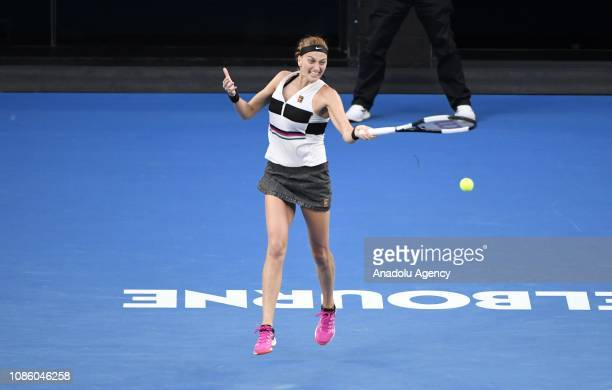 Petra Kvitova of Czech Republic in action against Ashleigh Barty of Australia during day nine of the 2019 Australian Open at Melbourne Park in...
