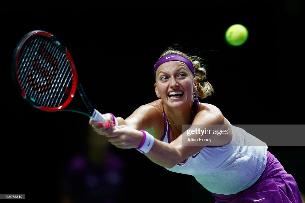 Petra Kvitova of Czech Republic in action against Maria Sharapova of Russia in the semi-final match of the BNP Paribas WTA Finals at Singapore Sports Hub on October 31, 2015 in Singapore.