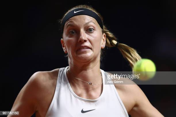 Petra Kvitova of Czech Republic in action during her match against Angelique Kerber of Germany during day 3 of the Porsche Tennis Grand Prix at...