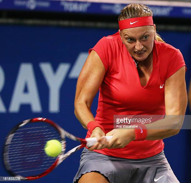 Petra Kvitova of Czech Republic in action during her women's singles third round match against Madison Keys of the United States during day five of...