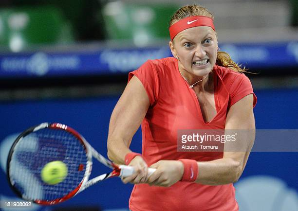 Petra Kvitova of Czech Republic in action during her women's singles quarter final match against Svetlana Kuznetsova of Russia during day five of the...