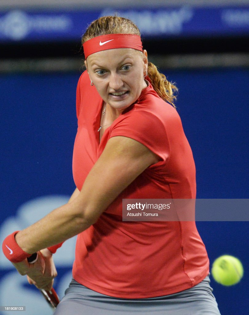 Petra Kvitova of Czech Republic in action during her women's singles quarter final match against Svetlana Kuznetsova of Russia during day five of the Toray Pan Pacific Open at Ariake Colosseum on September 26, 2013 in Tokyo, Japan.