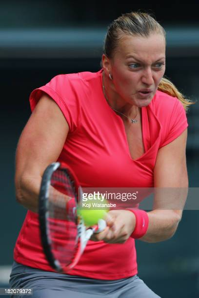 Petra Kvitova of Czech Republic in action during her women's singles final match against Angelique Kerber of Germany during day seven of the Toray...