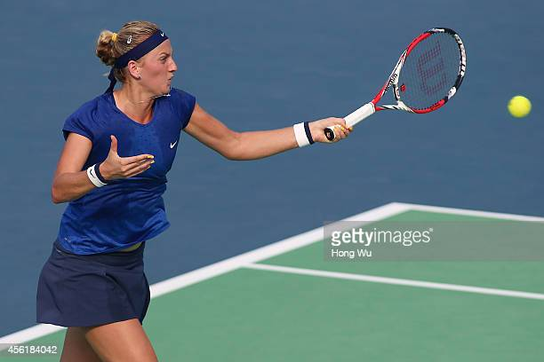 Petra Kvitova of Czech Republic in action during the final match against Eugenie Bouchard of Canada on day seven of 2014 Dongfeng Motor Wuhan Open at...