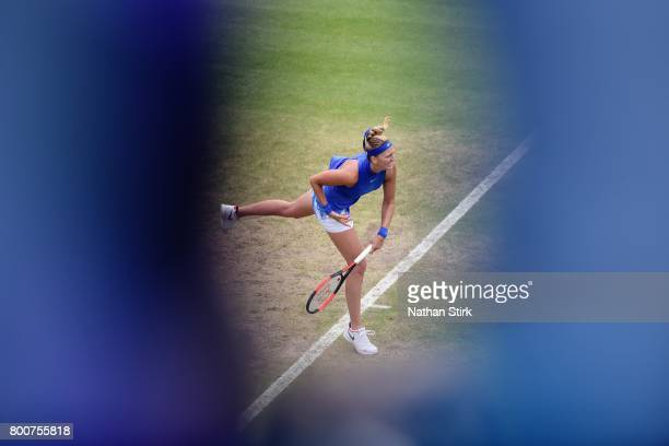 Petra Kvitova of Czech Republic in action during the final match against Ashleigh Barty of Australia on day seven of The Aegon Classic Birmingham at...