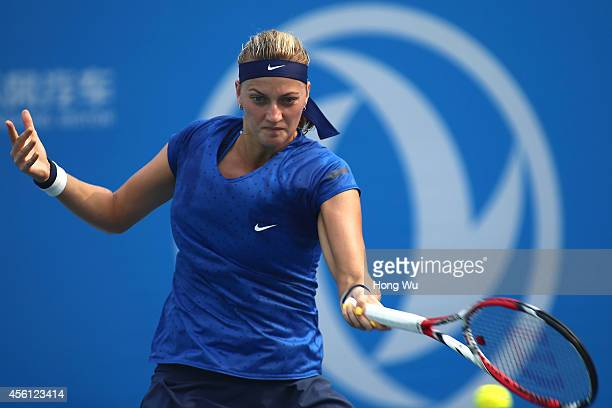 Petra Kvitova of Czech Republic in action during the match against Elina Svitolna of Ukraine on day six of 2014 Dongfeng Motor Wuhan Open at Optics...