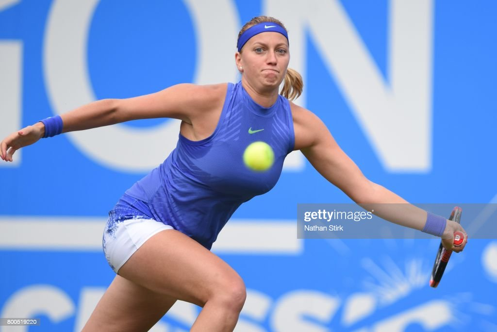 Petra Kvitova of Czech Republic in action during the semi final match against Lucie Safarova of Czech Republic on day six of The Aegon Classic Birmingham at Edgbaston Priory Club on June 24, 2017 in Birmingham, England.