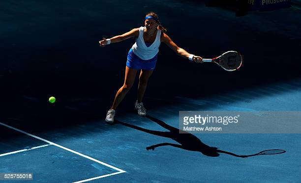 Petra Kvitova of Czech Republic in action on the blue courts of Madrid