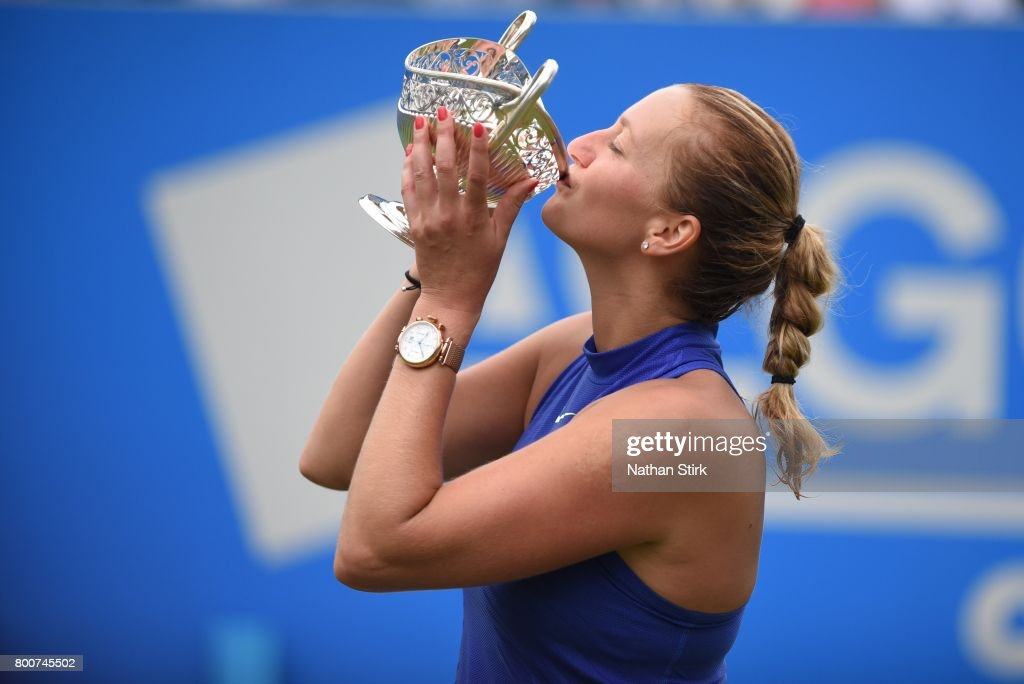 Petra Kvitova of Czech Republic kisses the Maud Watson trophy after beating Ashleigh Barty of Australia on day seven of The Aegon Classic Birmingham at Edgbaston Priory Club on June 25, 2017 in Birmingham, England.