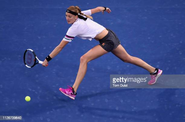 Petra Kvitova of Czech Republic plays a backhand during her semi final match against SuWei Hsieh of Taiwan on day Six of the Dubai Duty Free Tennis...