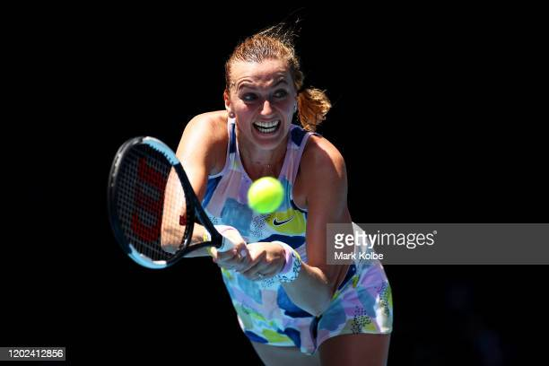 Petra Kvitova of Czech Republic plays a backhand during her Women's Singles Quarterfinal match against Ashleigh Barty of Australia on day nine of the...