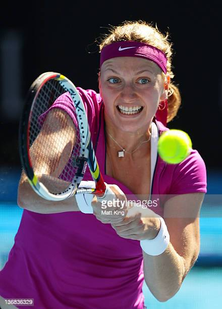 Petra Kvitova of Czech Republic plays a backhand in her match against Li Na of China during day five of the 2012 Sydney International at Sydney...