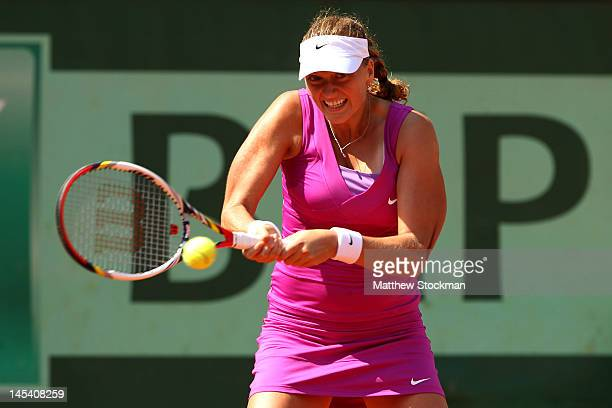 Petra Kvitova of Czech Republic plays a backhand in her women's singles first round match between Ashleigh Barty of Australia and Petra Kvitova of...