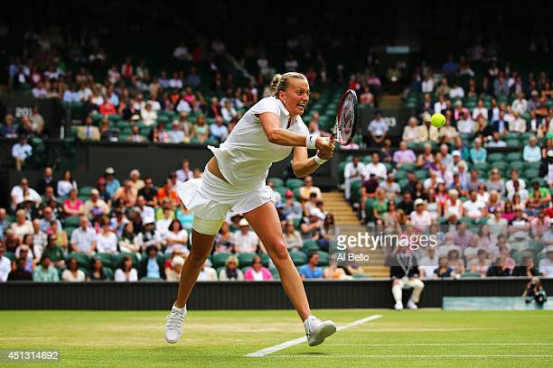 Petra Kvitova of Czech Republic plays a backhand return during her Ladies' Singles third round match against Venus Williams of the United States on...