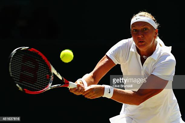 Petra Kvitova of Czech Republic plays a backhand return during her Ladies' Singles semifinal match against Lucie Safarova of Czech Republic on day...