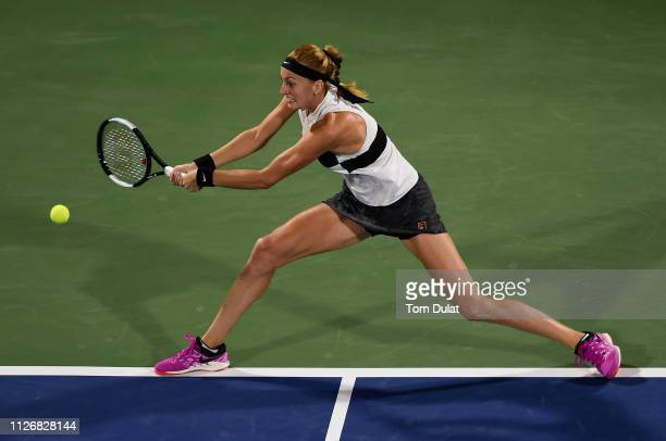 Petra Kvitova of Czech Republic plays a forehand during her Final Match against Belinda Bencic of Switzerland on day seven of the Dubai Duty Free...