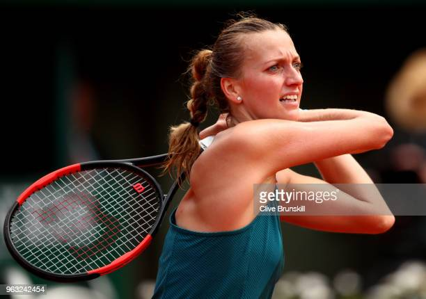 Petra Kvitova of Czech Republic plays a forehand during the ladies singles first round match against Veronica Cepede Royg of Paraguay during day two...