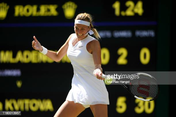 Petra Kvitova of Czech Republic plays a forehand in her Ladies' Singles Second round match against Kristina Mladenovic of France during Day four of...
