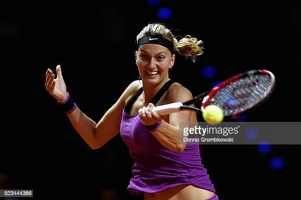 Petra Kvitova of Czech Republic plays a forehand in her semi final match against Angelique Kerber of Germany during Day 6 of the Porsche Tennis Grand...