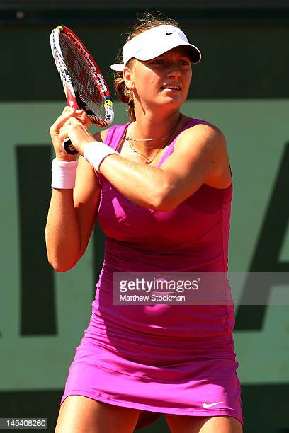 Petra Kvitova of Czech Republic plays a forehand in her women's singles first round match between Ashleigh Barty of Australia and Petra Kvitova of...