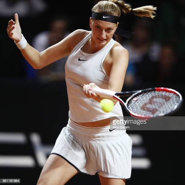 Petra Kvitova of Czech Republic plays a forehand to Angelique Kerber of Germany during day 3 of the Porsche Tennis Grand Prix at PorscheArena on...