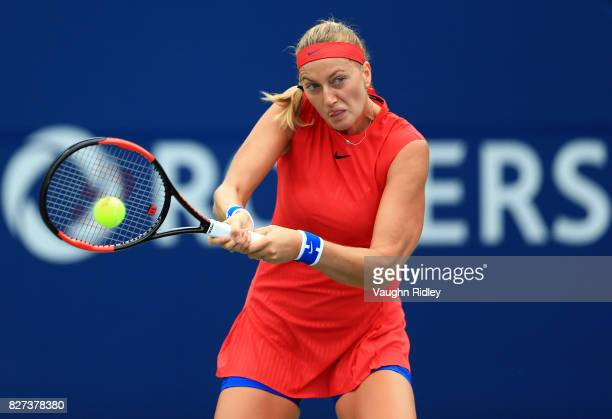 Petra Kvitova of Czech Republic plays a shot against Carla Suarez Navarro of Spain during Day 3 of the Rogers Cup at Aviva Centre on August 7 2017 in...