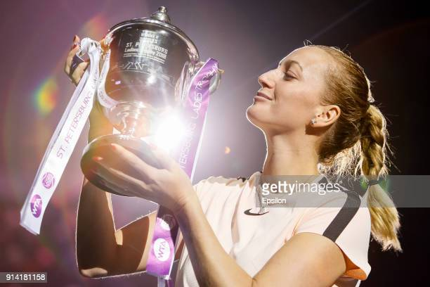 Petra Kvitova of Czech Republic poses with her trophy after St Petersburg Ladies Trophy 2018 final tennis match against Kristina Mladenovic of France...