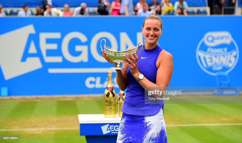 Petra Kvitova of Czech Republic poses with the Maud Watson Trophy after winning the final of the Aegon Classic Birmingham Final at Edgbaston Priory Club on June 25, 2017 in Birmingham, England.