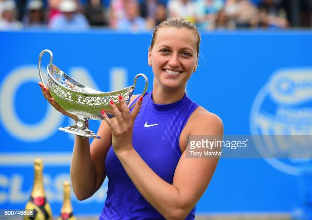 Petra Kvitova of Czech Republic poses with the Maud Watson Trophy after winning the final of the Aegon Classic Birmingham Final at Edgbaston Priory...