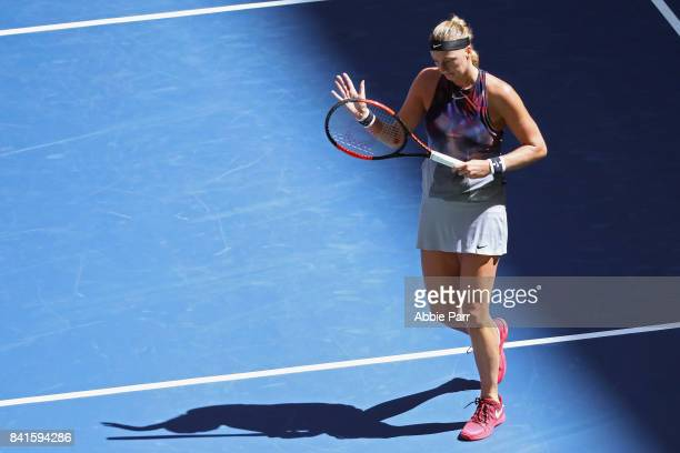 Petra Kvitova of Czech Republic reacts during her match against Caroline Garcia of France during their third round match on Day Five of the 2017 US...