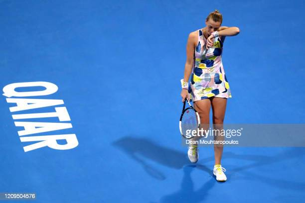 Petra Kvitova of Czech Republic reacts to a missed point against Aryna Sabalenka of Belarus in their Singles Final match on Day 7 of the WTA Qatar...