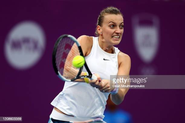 Petra Kvitova of Czech Republic returns a backhand against Carla Suarez Navarro of Spain during Day 3 of the WTA Qatar Total Open 2020 at Khalifa...