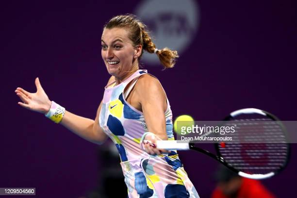 Petra Kvitova of Czech Republic returns a forehand against Aryna Sabalenka of Belarus in their Singles Final match on Day 7 of the WTA Qatar Total...