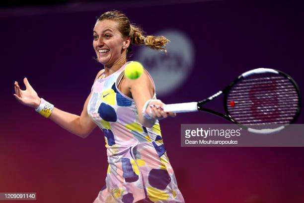 Petra Kvitova of Czech Republic returns a forehand against Ons Jabeur of Tunisia during Day 5 of the WTA Qatar Total Open 2020 at Khalifa...