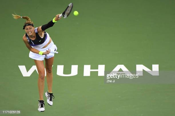 Petra Kvitova of Czech Republic returns a shot during the match against Sloane Stephens of the United States on Day 4 of 2019 Dongfeng Motor Wuhan...