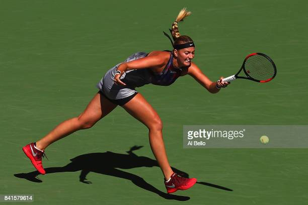 Petra Kvitova of Czech Republic returns a shot to Caroline Garcia of France during their third round match on Day Five of the 2017 US Open at the...