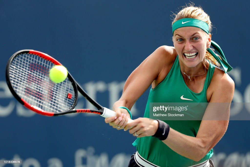 Petra Kvitova of Czech Republic returns a shot to Elise Mertens of Belgium during the Western & Southern Open at Lindner Family Tennis Center on August 17, 2018 in Mason, Ohio.