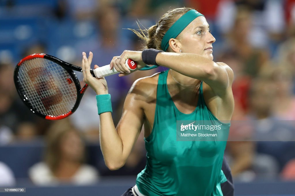 Petra Kvitova of Czech Republic returns a shot to Serena Williamss during the Western & Southern Open at Lindner Family Tennis Center on August 14, 2018 in Mason, Ohio.