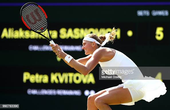 Petra Kvitova of Czech Republic returns against Aliaksandra Sasnovich of Belarus during their Ladies' Singles first round match on day two of the...