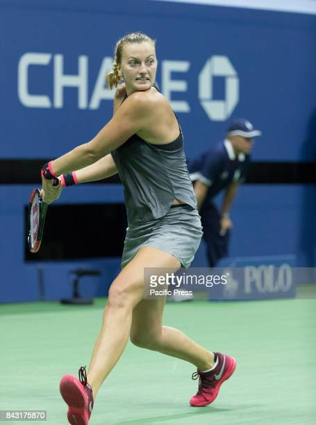 Petra Kvitova of Czech Republic returns ball during match against Venus Williams of USA at US Open Championships at Billie Jean King National Tennis...