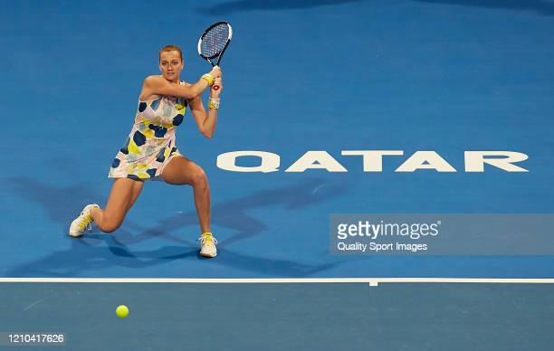 Petra Kvitova of Czech Republic returns the ball againist Aryna Sabalenka of Belarus in the singles final match on day seven of the WTA Qatar Total...