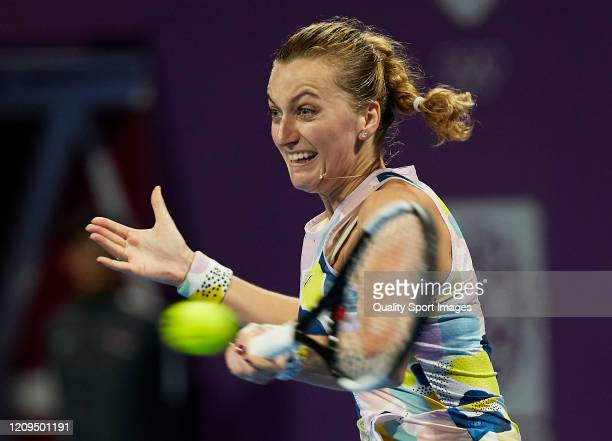 Petra Kvitova of Czech Republic returns the ball against Aryna Sabalenka of Belarus in the singles final match on day seven of the WTA Qatar Total...
