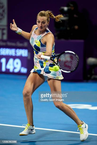 Petra Kvitova of Czech Republic returns the ball against Ons Jabeur of Tunisia during day five of the WTA Qatar Total Open 2020 at Khalifa...