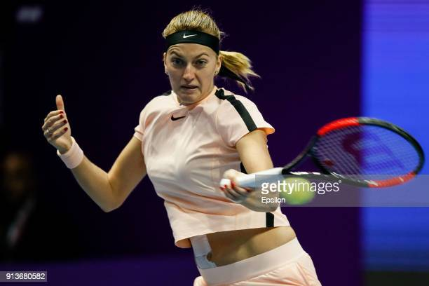 Petra Kvitova of Czech Republic returns the ball to Julia Goerges of Germany during their St Petersburg Ladies Trophy 2018 semifinal tennis match on...